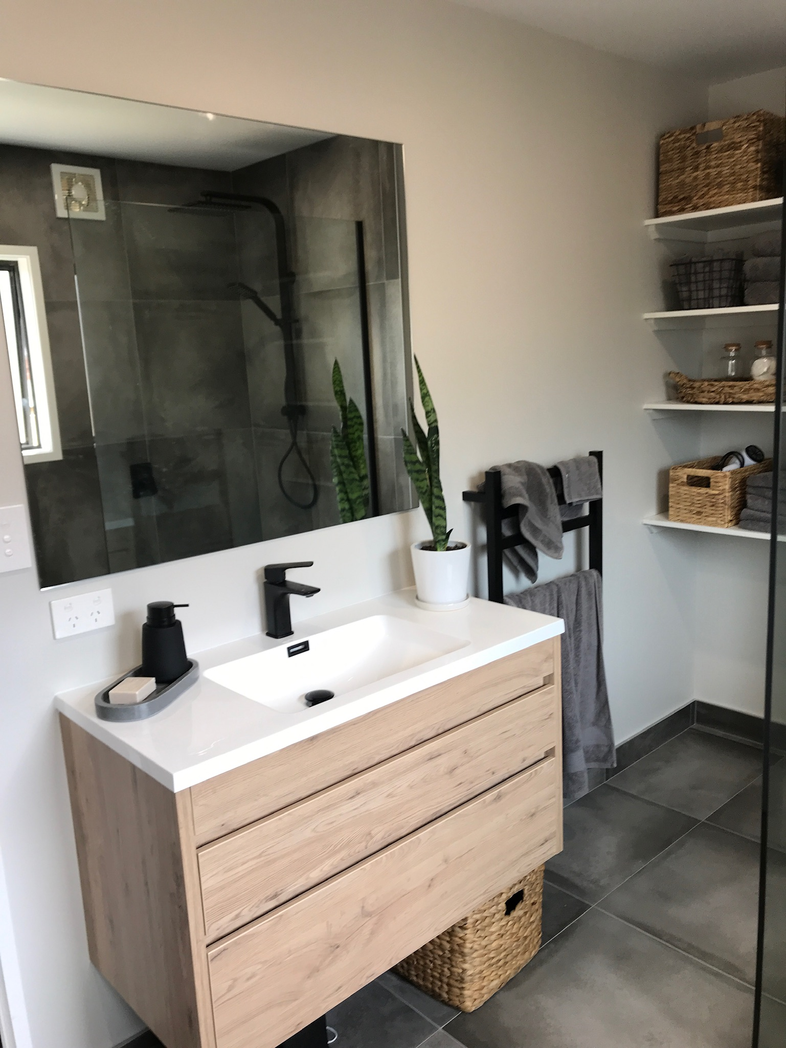 Slick and Modern in Milford Bathroom, Featured renovation photo
